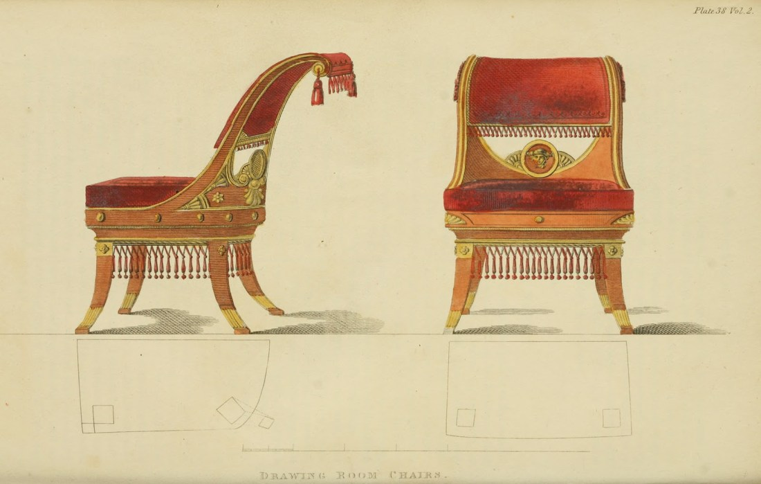 """""""Drawing room chairs."""" Plate 38. Volume 2. 1809."""