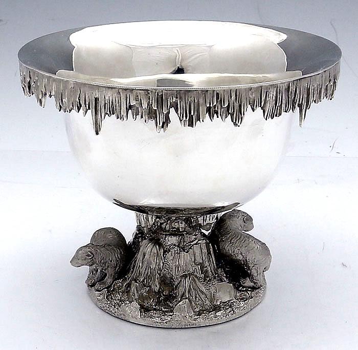 Polar bear ice bowl with an applied icicle rim. 1874.