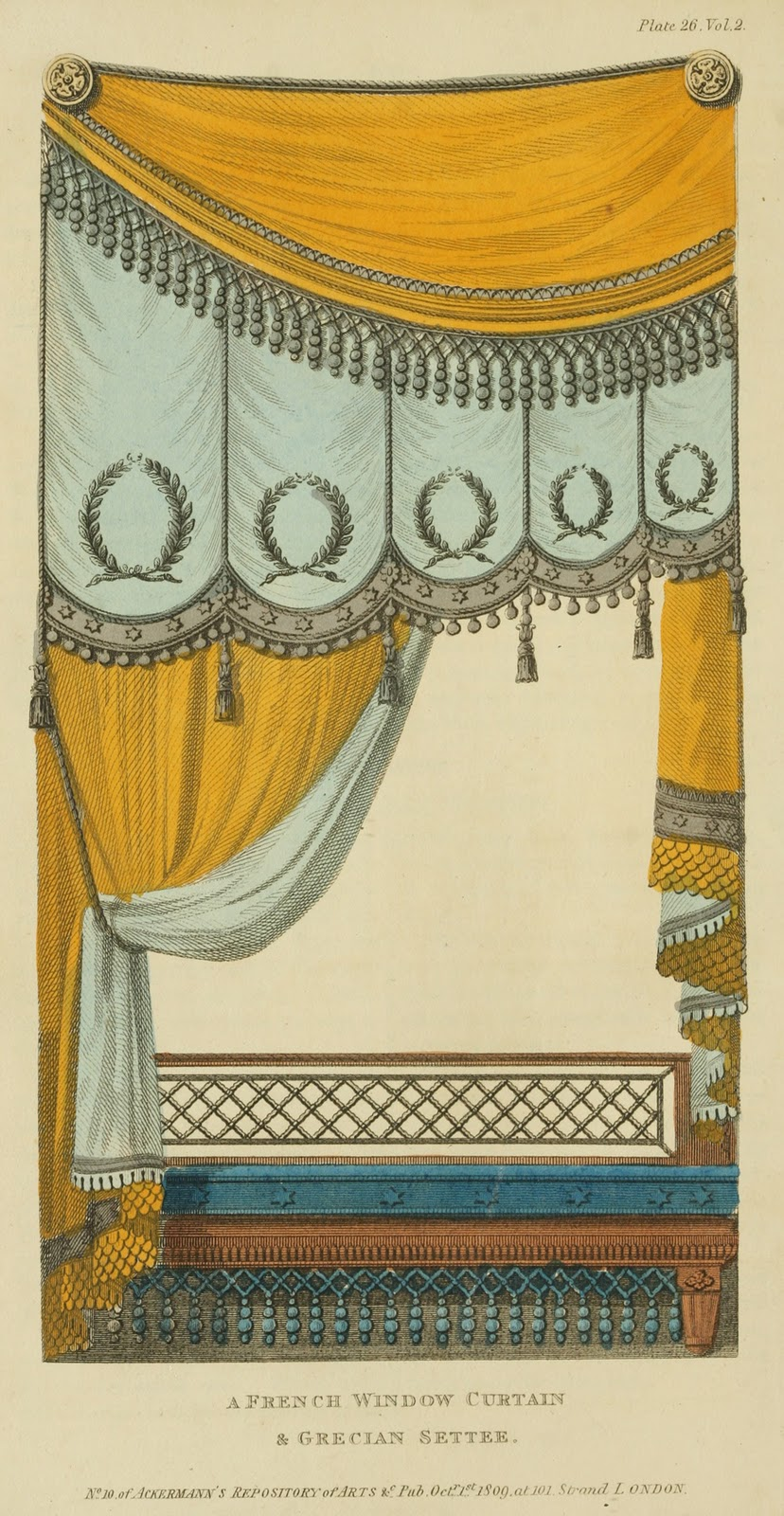 """""""French window curtains and Grecian Settee."""" Plate 26. Volume 2. 1809."""