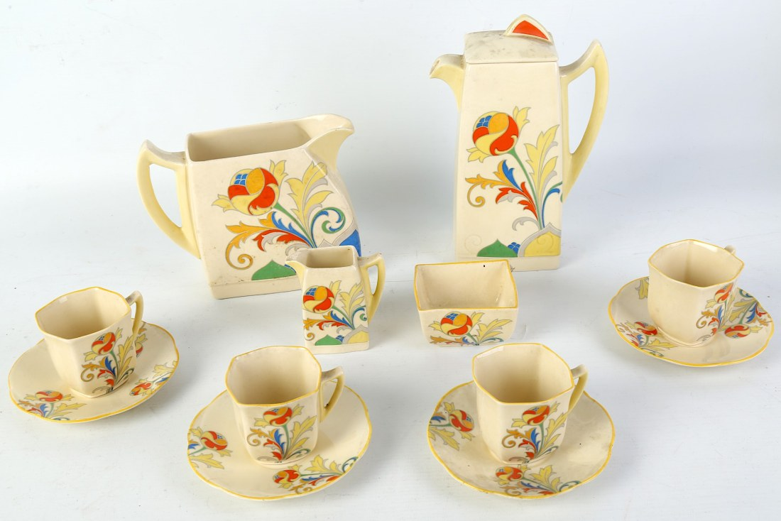 """Coffee service for four  with a large jug in the """"Cresta"""" pattern. 1930's."""