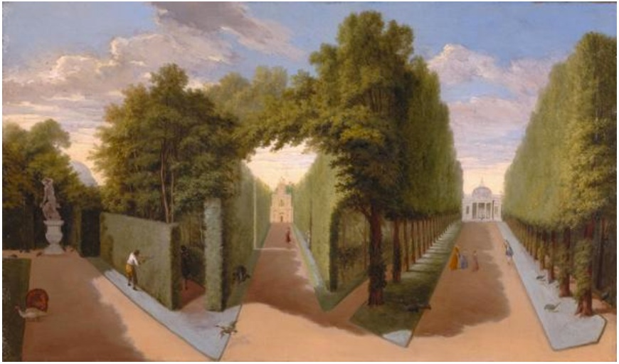 """""""Chiswick House Gardens- A view of the Bagnio and Grand Allees."""" ca. 1729-1731."""