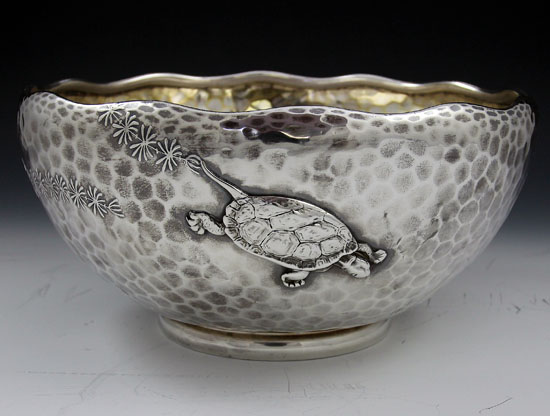 Bowl with three applied turtles and seaweed. ca. 1880.