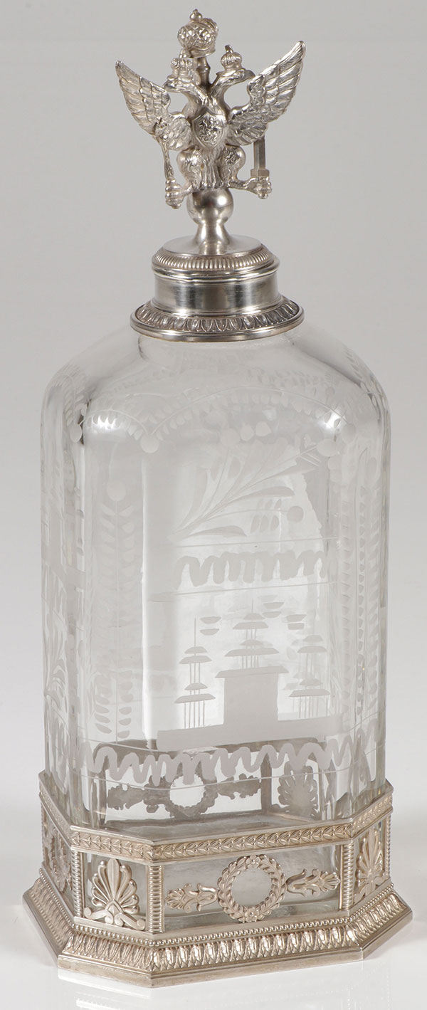 Decanter. ca. 1910. Cut glass and silver.