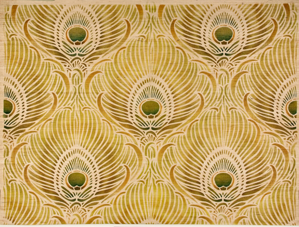 Peacock feather wallpaper. ca. 1895.