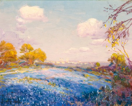 """""""Late Afternoon Bluebonnets-San Antonio, Texas-Fort Sam Houston in Distance."""" 1914."""