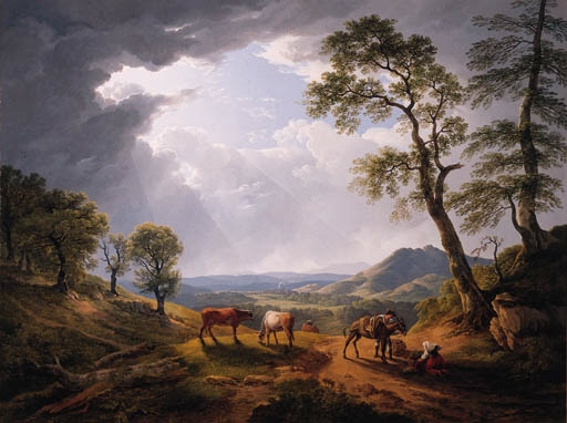 """""""Muleteers halting on a mountain pass in the Roman Campagna."""" 1809."""