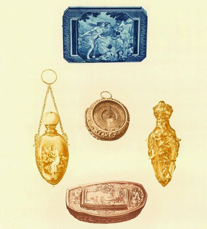 """Snuff box with painting after Prud'Hon, Ivory watch made by Bushman, vinaigrette in gold and porcelain,  vinaigrette in gold and rock crystal, boat shape snuff box with enamel.   Taken from """"Mr. Vanderbilt's House and Collection,"""" described by Edward Strahan pseudo Earl Shinn, Holland edition published in 1883."""