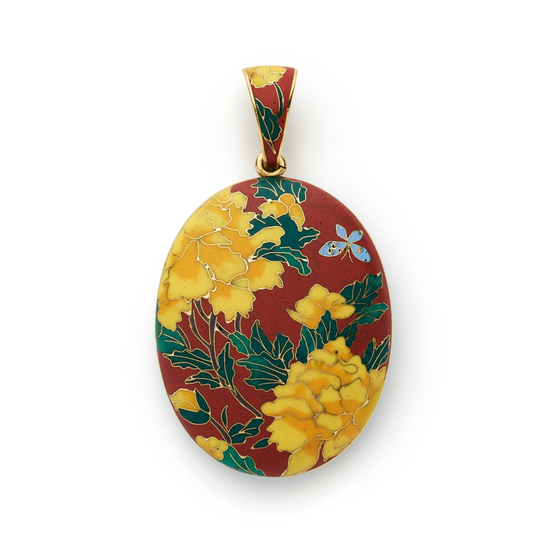 Japanese influenced peony design pendant locket. ca. 1869.