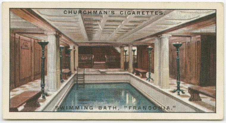 """""""Swimming bath, Franconia."""" Churchman's Cigarettes cigarette card. Vintage."""