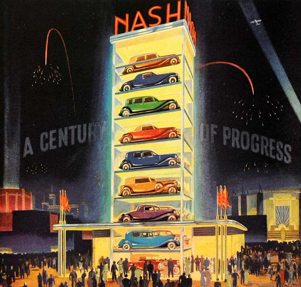 Nash glass tower display. 1933.