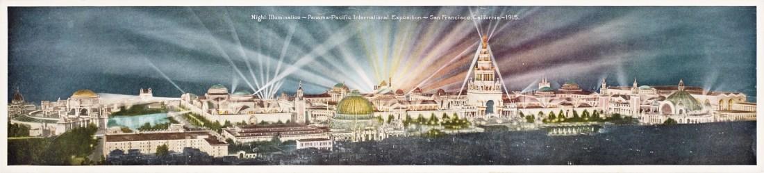 """Night Illumination - Panama-Pacific International Exposition - San Francisco, California - 1915."""