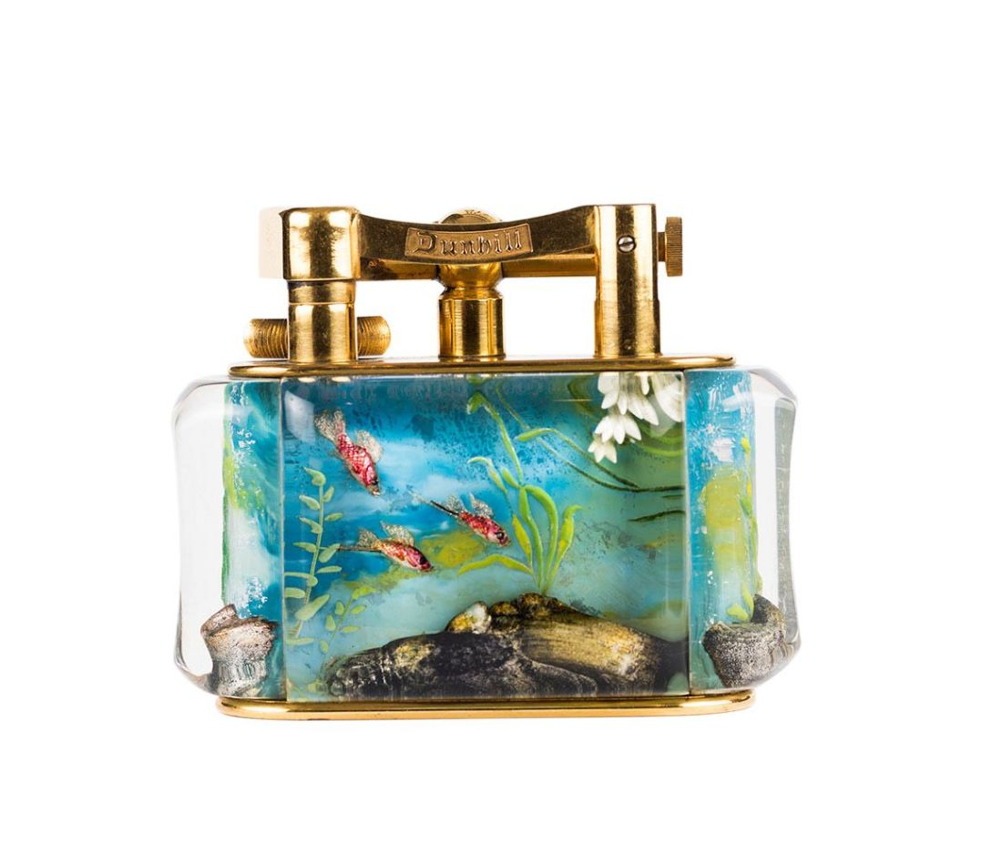 Deep blue water aquarium table lighter. Vintage.