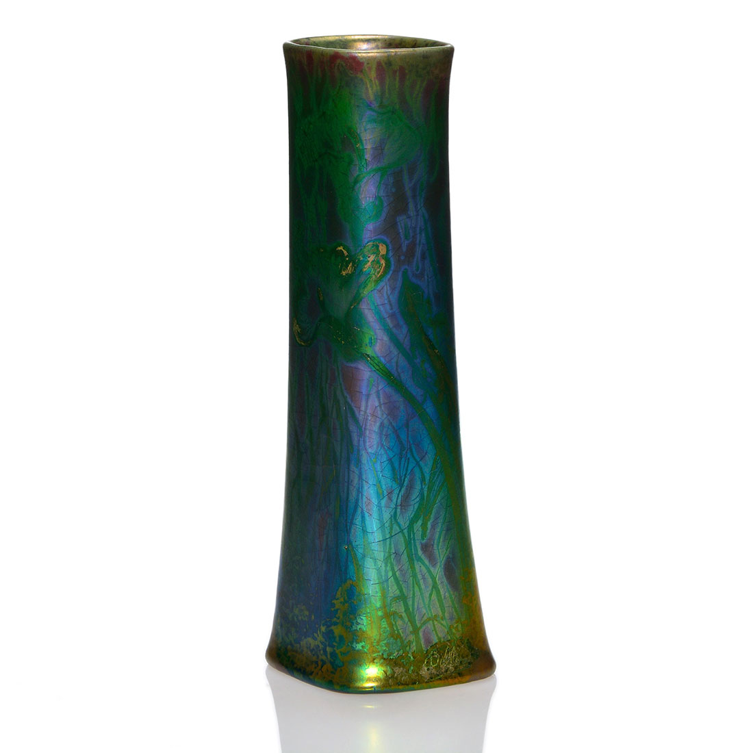 Tall vase with calla lily decoration. Early 20th c.