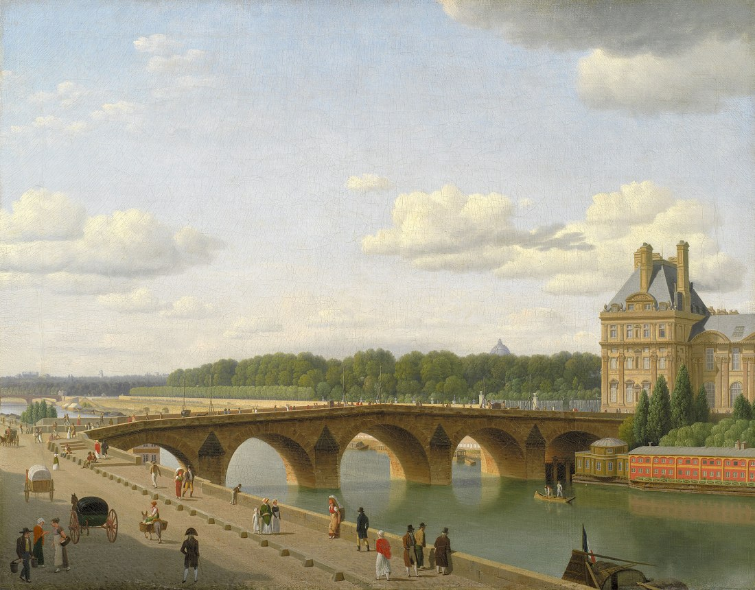 """""""Pont Royal seen from the Quai Voltaire."""" 1812."""