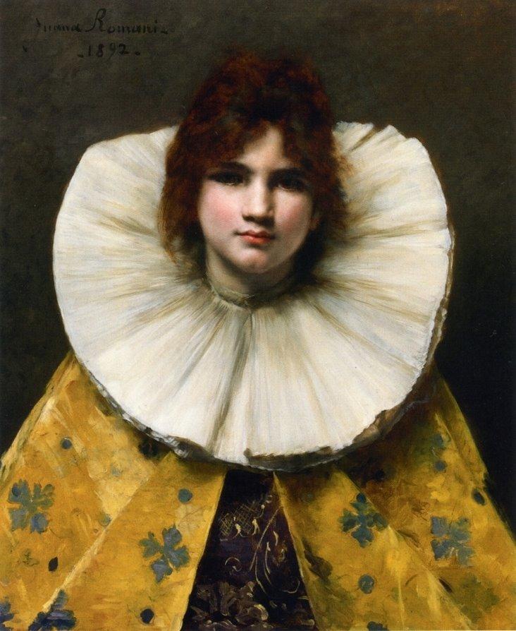 """""""Giovane ragazza con il collare arruffato."""" 1892."""