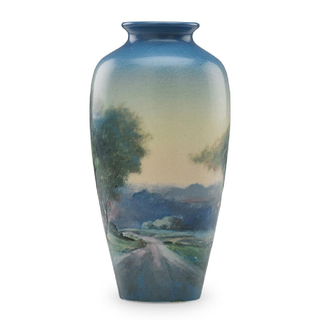 Scenic vellum vase with road and forest. 1922.