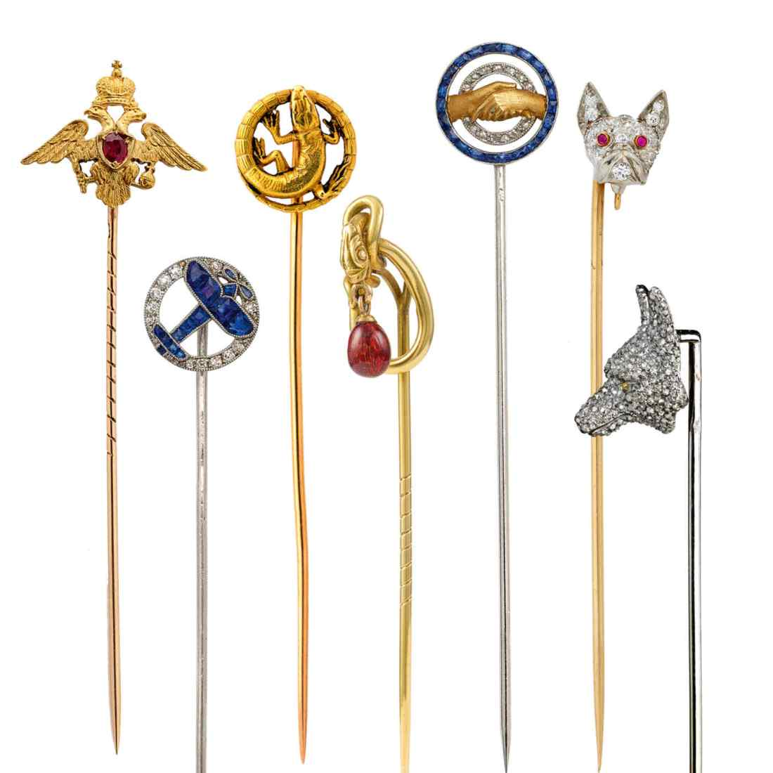 Vintage tie and stick pins, ca. 1885-1910.