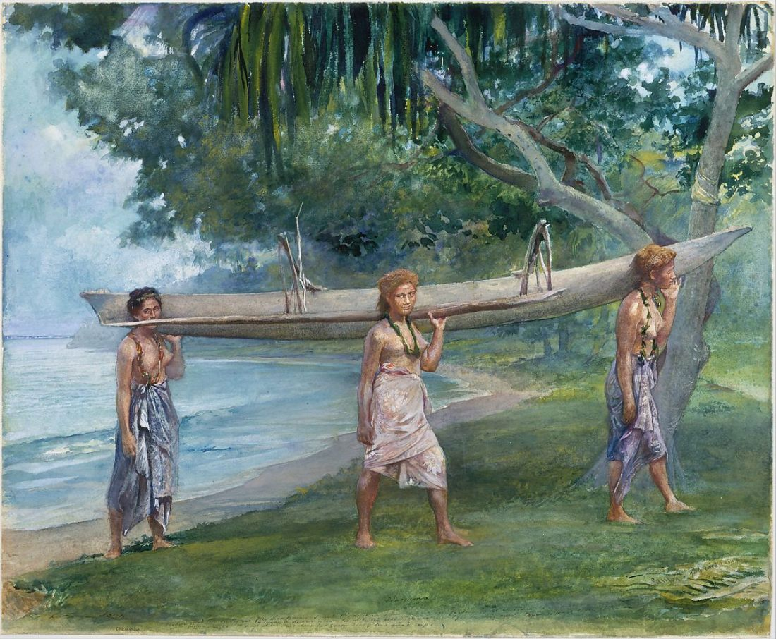 """Girls Carrying a Canoe, Vaiala in Samoa."" 1891."