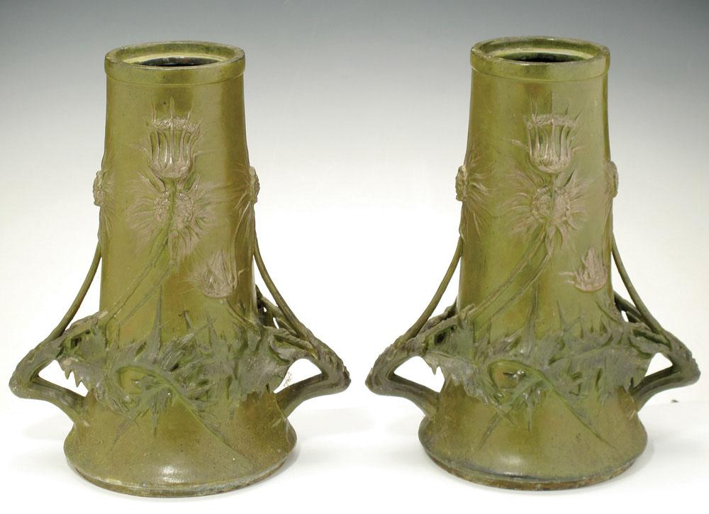 """Thistle"" vases. ca. 1889-1900. Tin."