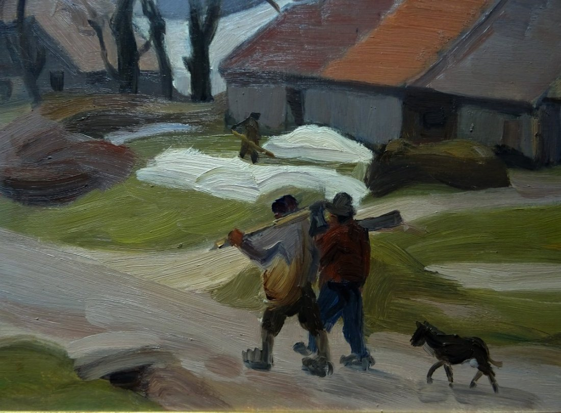 Winter scene with loggers arriving in a village. No exact date.