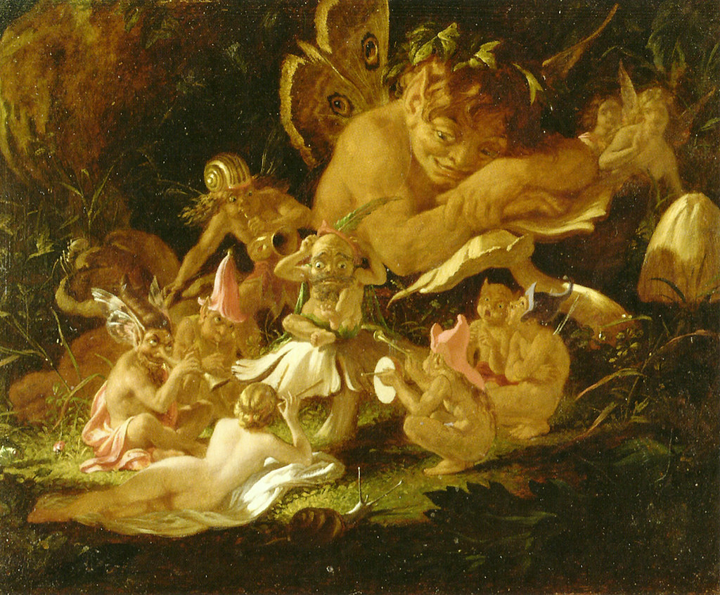 """Puck and Fairies, from """"A Midsummer Night's Dream."""" Mid 19th c. Print."""