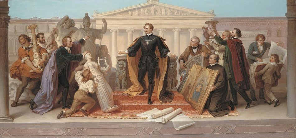 """""""King Ludwig I, Surrounded by Scholars and Artists, Descends from the Throne to View the Sculptures and Paintings Presented to Him."""" 1848."""