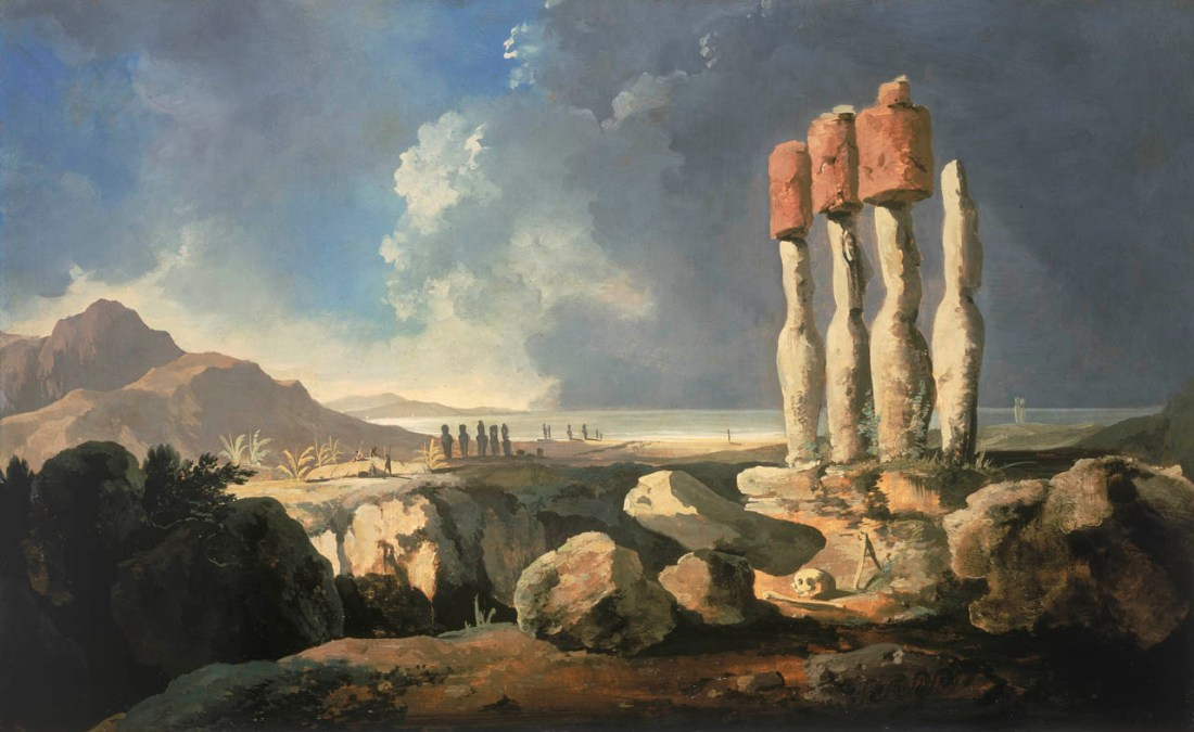 """""""A View of the Monuments of Easter Island [Rapanui]."""" ca. 1776."""