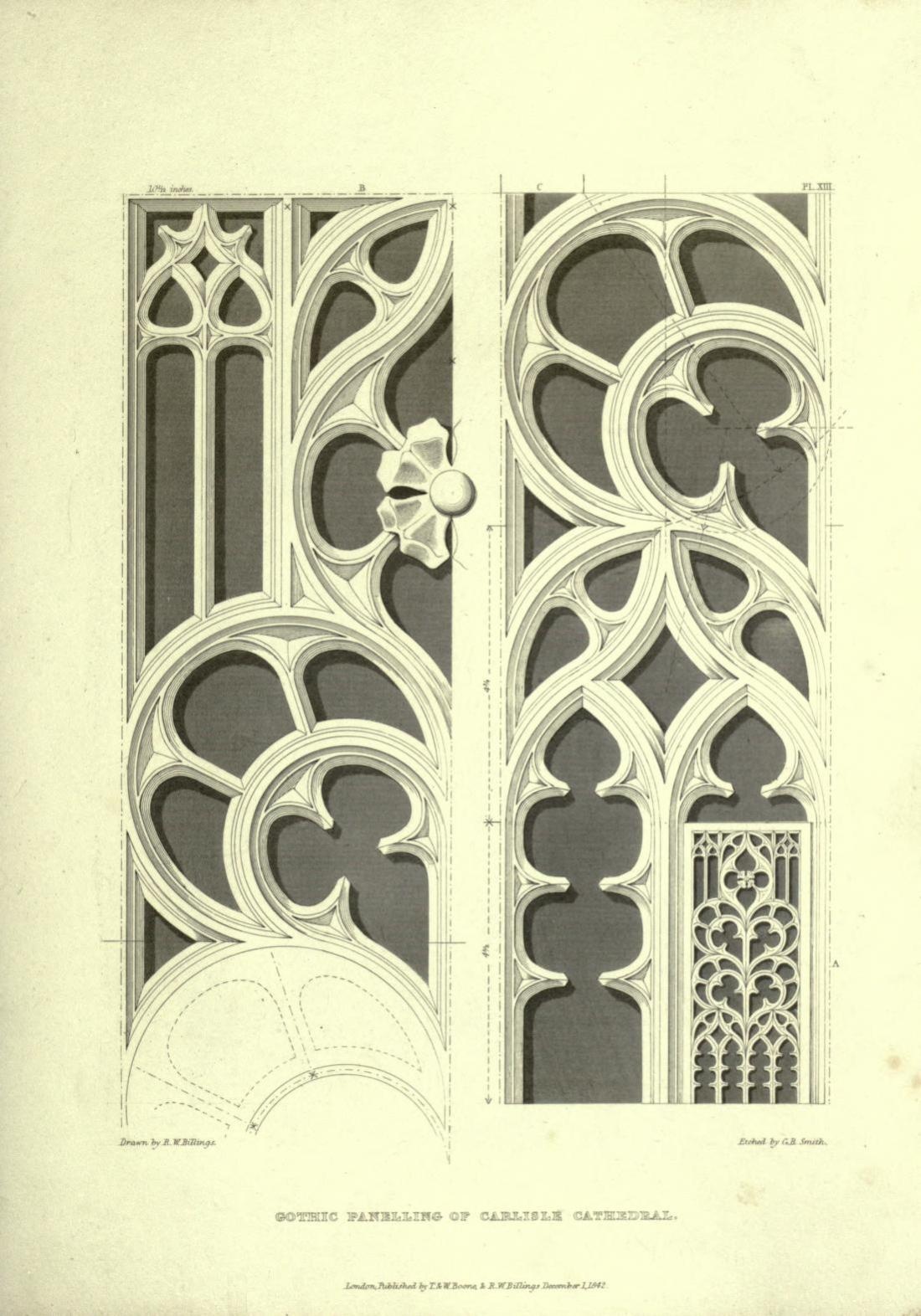 """""""Gothic Panelling of Carlisle Cathedral."""" Page 39."""