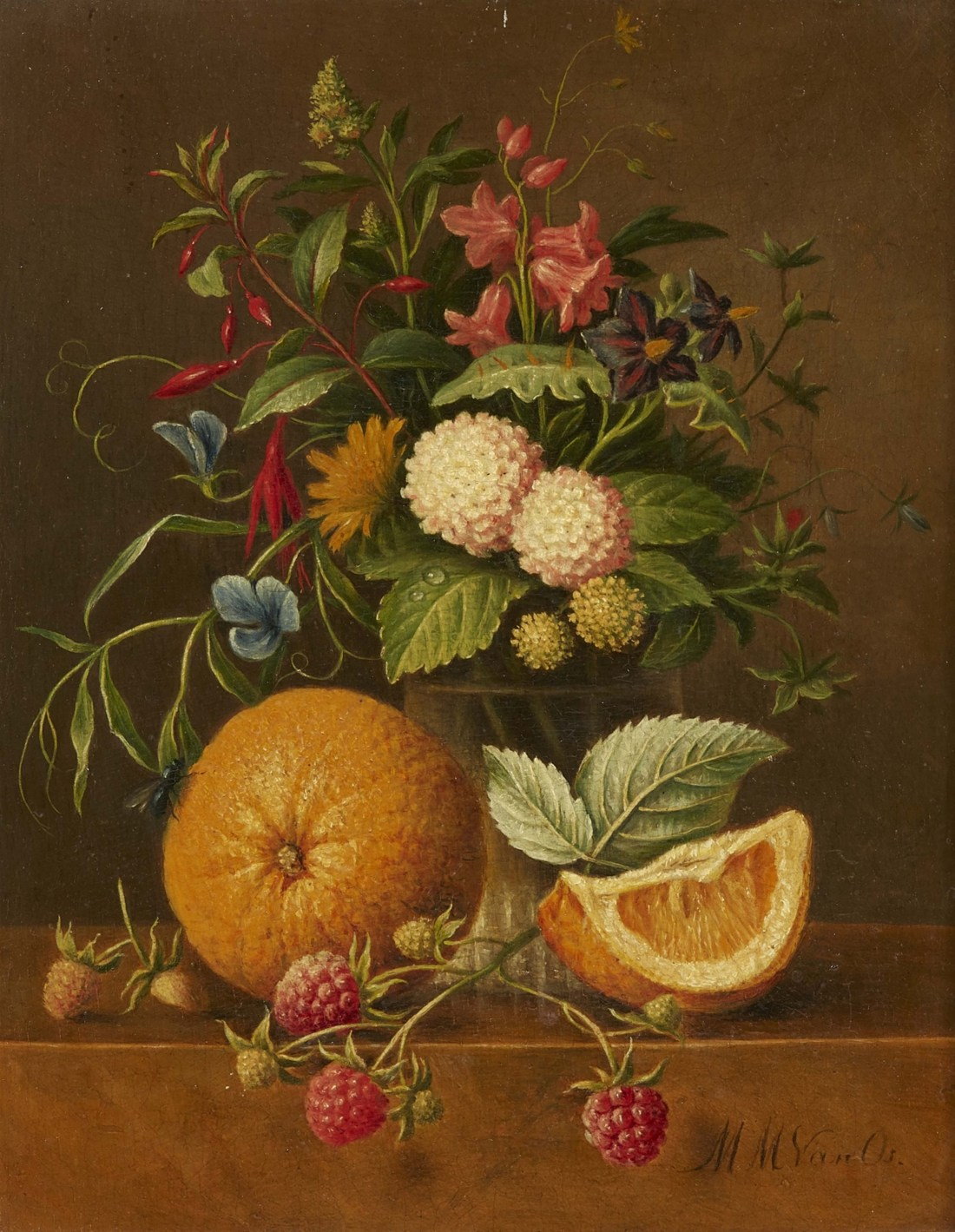 """""""Still Life with a Vase of Flowers, Clementines, and Raspberries."""" No exact date."""
