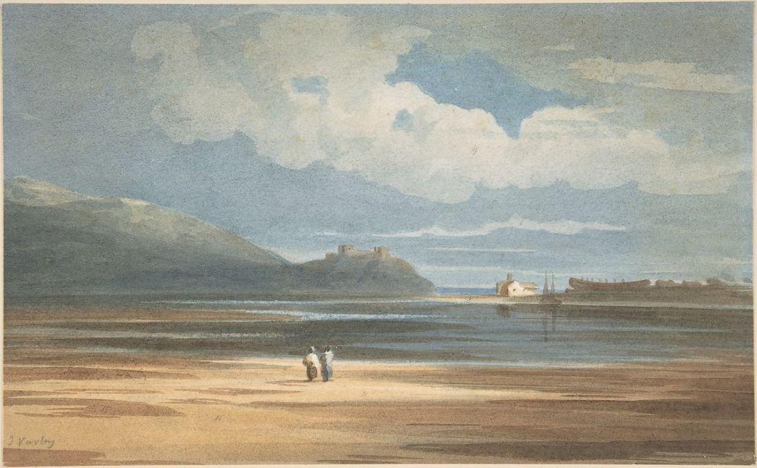 """Harlech Castle across the Traeth Mawr."" 1800-02."