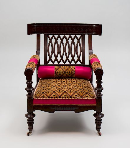 Upholstered armchair. 19th c. Neo-Grecian in style.