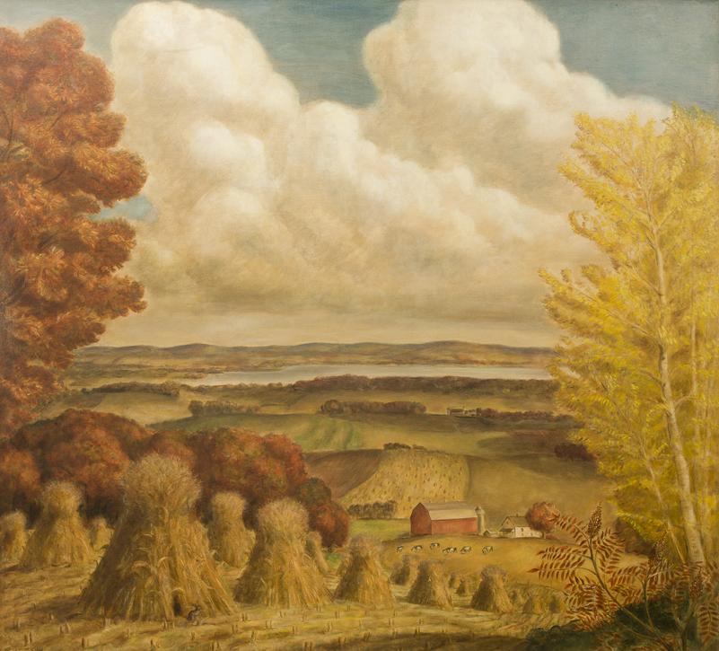"""Wisconsin Farm Scene."" 1941. Oil on canvas."