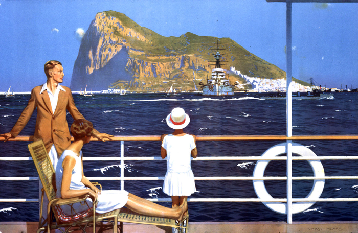 """""""Gibraltar."""" Painted for the Empire Marketing Board. ca. 1930."""