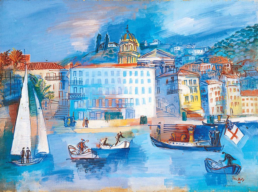 """""""L'hôtel Welcome à Villefranche-sur-Me."""" 1926. Oil on canvas."""