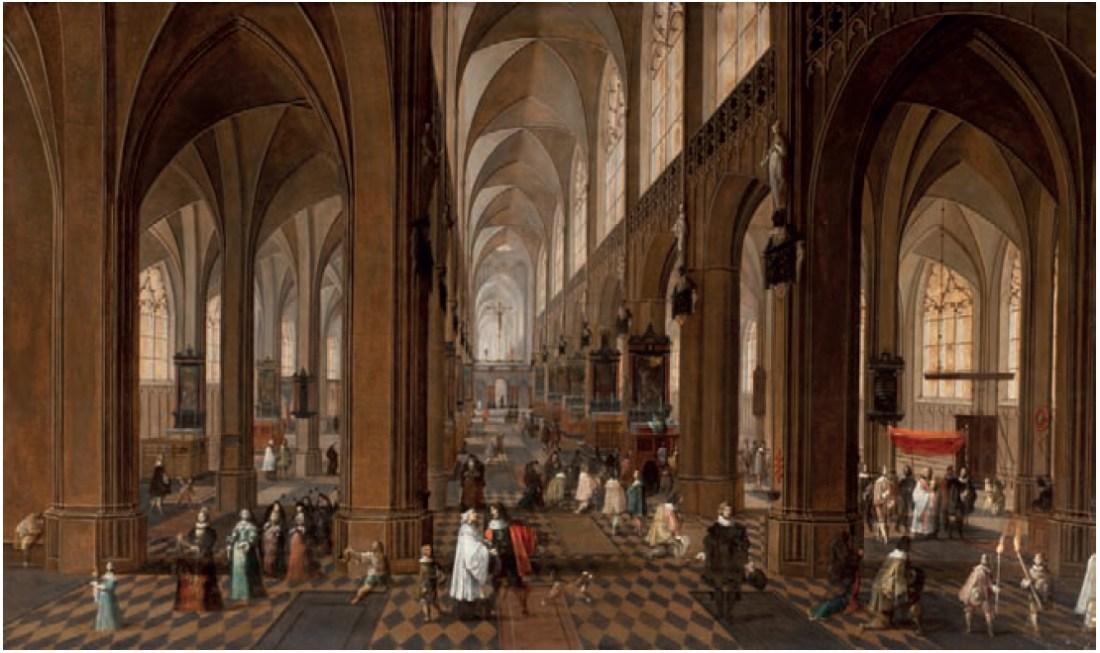 """""""The Interior of the Onze-Lieve-Vrouwe-Kerk in Antwerp with elegant Figures conversing."""" 1640-1675."""