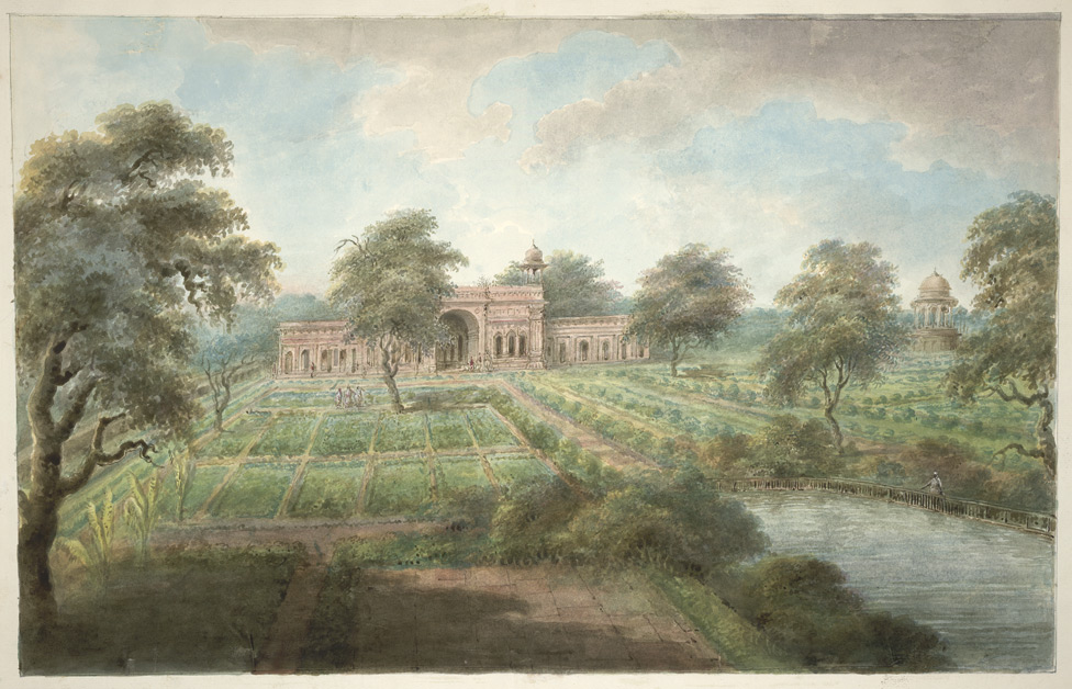 """""""The Mughal Shalimar Gardens north of Delhi,"""" from """"Views by Seeta Ram from Gheen to Delhi' Volume VI. 1815. Watercolor."""