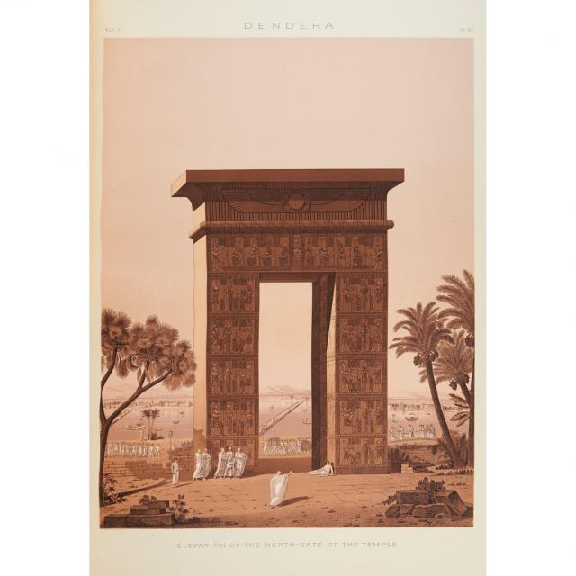 """""""Elevation of the North Gate of the Temple, Dendera."""" 1887."""