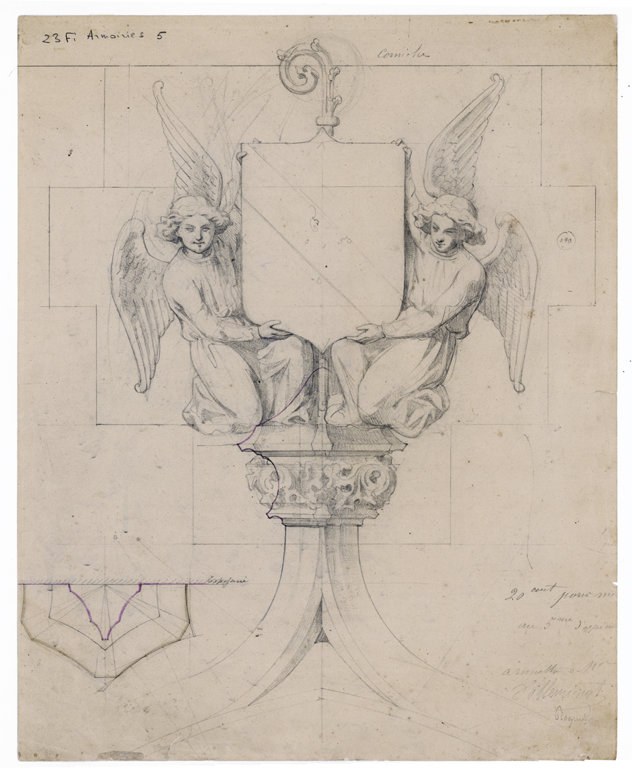 """""""Two angels supporting a coat of arms above the principle entrance to the tower,"""" for the Church of Saint-Germain-l'Auxerrois, Paris. Drawing. 19th c."""