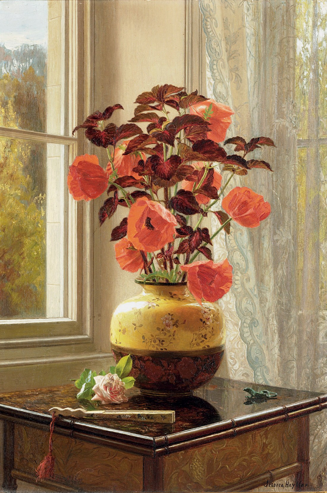 """""""Oriental Poppy and Coleus in a Cloisonné vase, with a fan on a faux bamboo table."""""""