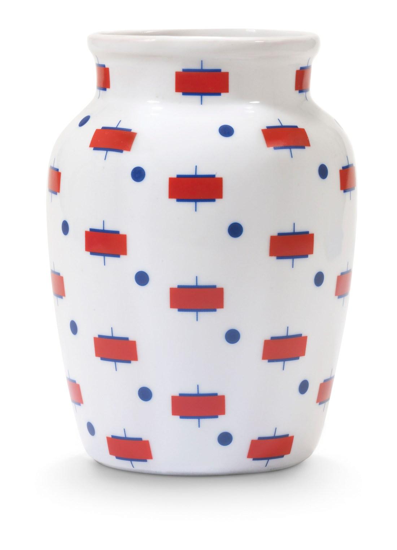 Bulbous style vase in a Suprematist design