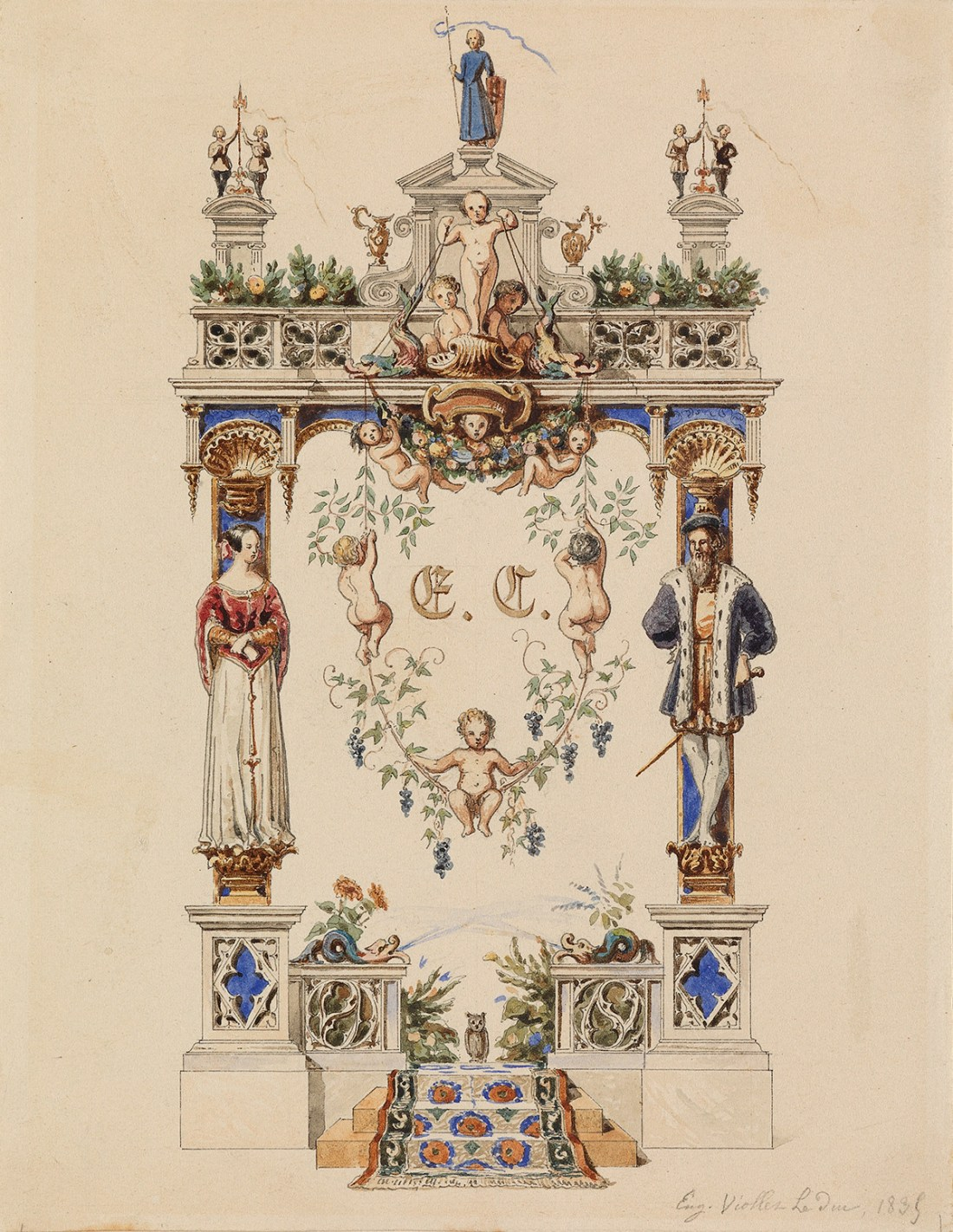 """""""A Study for a Heraldic Arms."""" 1839."""