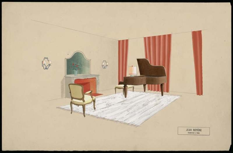 """""""Projet de salon avec piano."""" 20th c."""