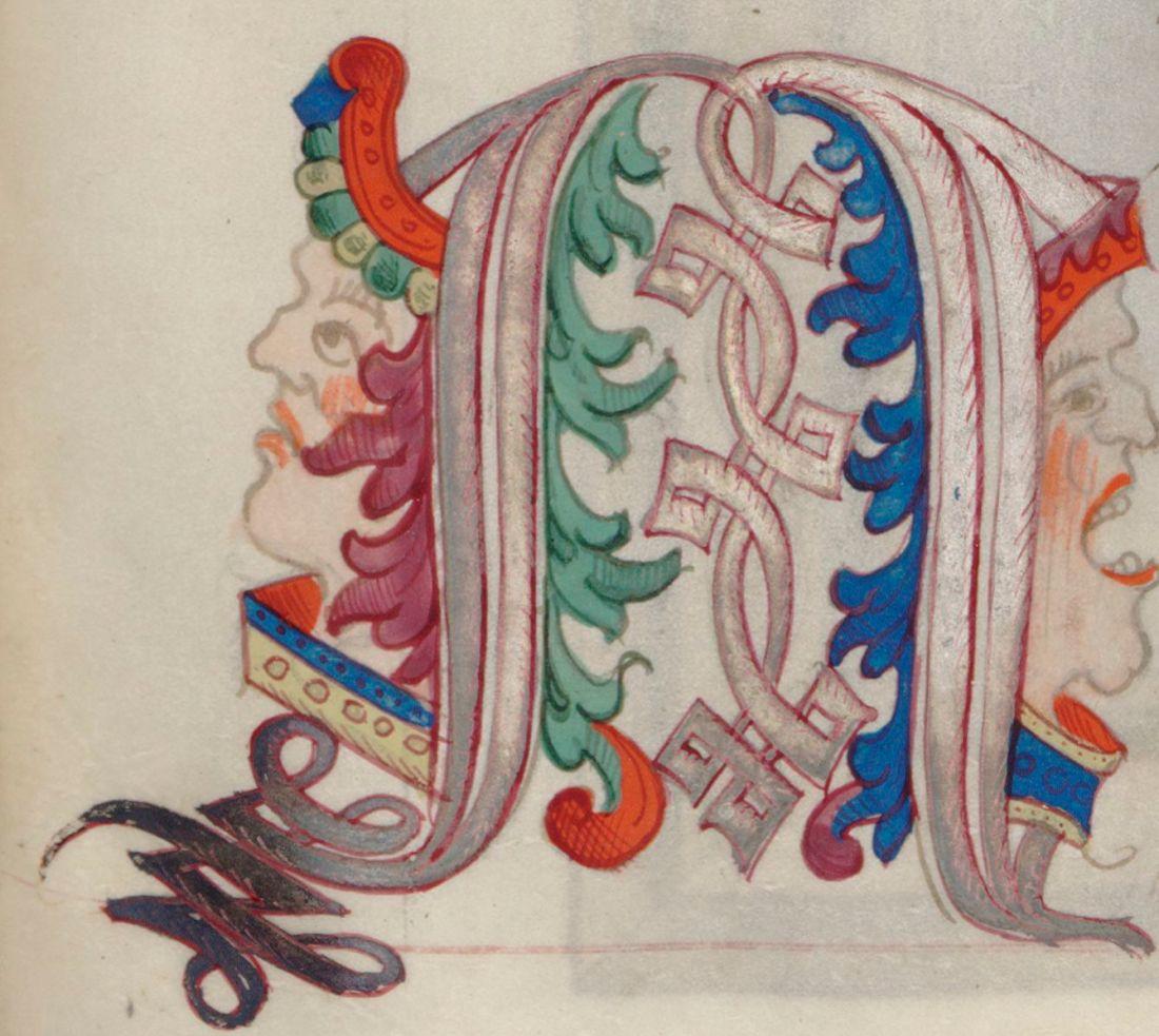 """Marginalia, """"Chants royaux en l'honneur de la Vierge au Puy d'Amiens,"""" fol. 21r (detail)."""