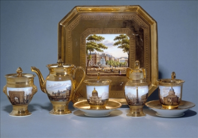 Tête-à-tête with decorations showing various Parisian monuments. ca. 1820.