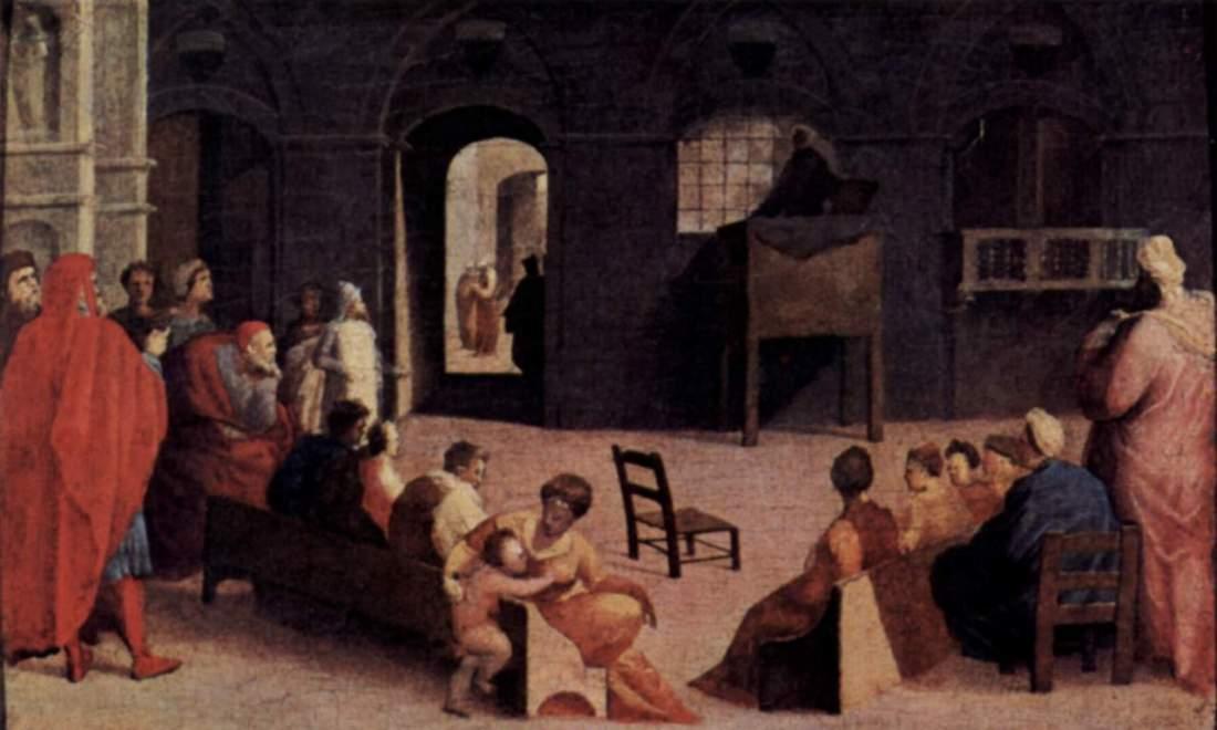 """""""Homily of Saint Bernard in the Piazza in Siena."""" 1537."""