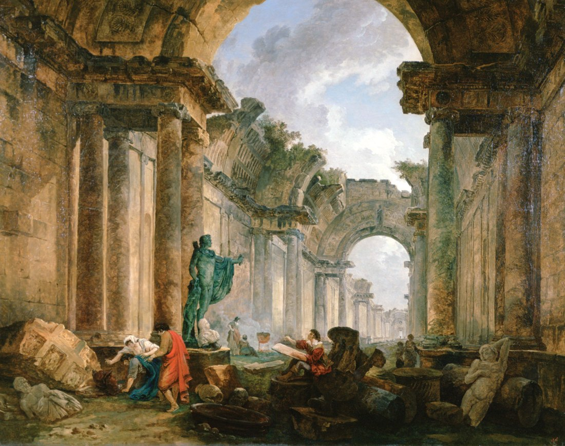 """""""Imaginary View of the Grand Gallery of the Louvre in Ruins."""" 1796."""