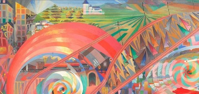 """large""""Voyage en chemin de fer."""" 1927. Oil on canvas."""
