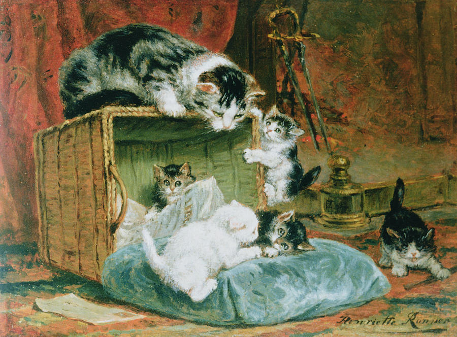 """""""Playtime."""" 19th c. Watercolor on paper."""