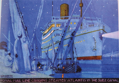 """""""Royal Mail Line cruising steamer Atlantis in the Suez Canal."""" 20th c."""