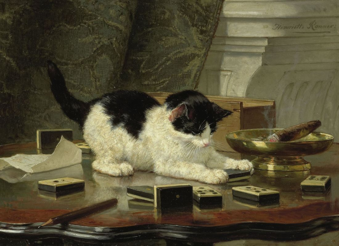 """""""The Cat at Play."""" ca. 1860-78. Oil on panel."""
